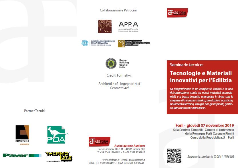 """Gildo Tomassetti relatore al Seminario Assform di Forlì """"Tecnologie e Materiali Innovativi per l'edilizia"""""""