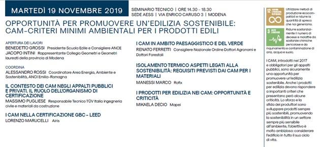 Buona affluenza e partecipazione al Seminario sui CAM nella Settimana della Bioarchitettura in Aess Modena