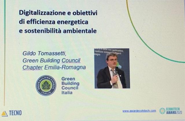 Brillante l'intervento di Gildo Tomassetti all'EcoHitech Award di oggi 4 novembre 2020